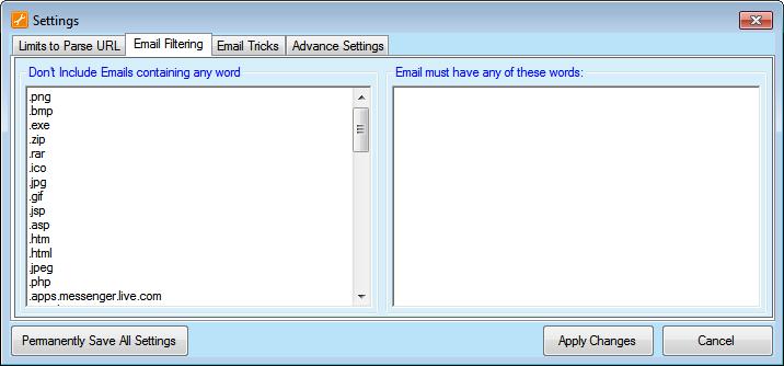 Email Filters Screenshot
