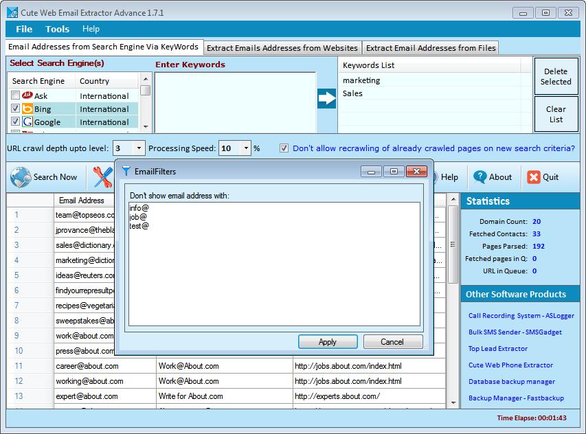 Afer Search Filter Screenshot
