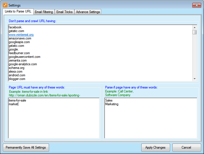Email Parsing Screenshot