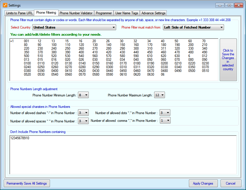Telephone Number Extractor Filers Screenshot