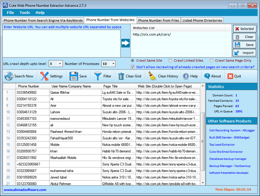 Telephone Number Extractor Websites Screenshot