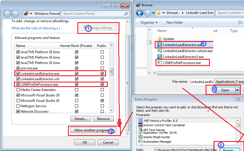 how to add software in windows firewal allow list.