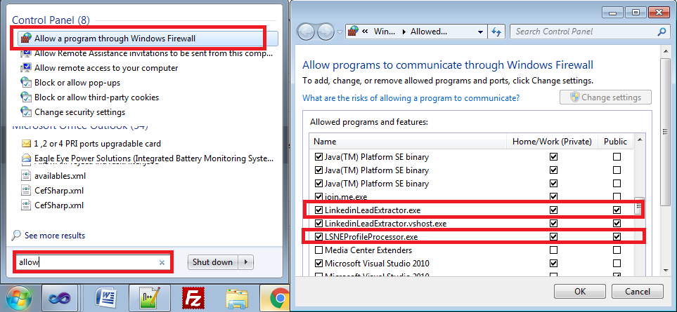 check if software is in windows firewall allow list