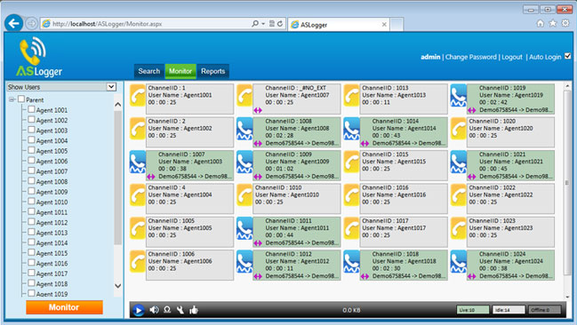 ASLogger Live Call Monitoring Screenshot
