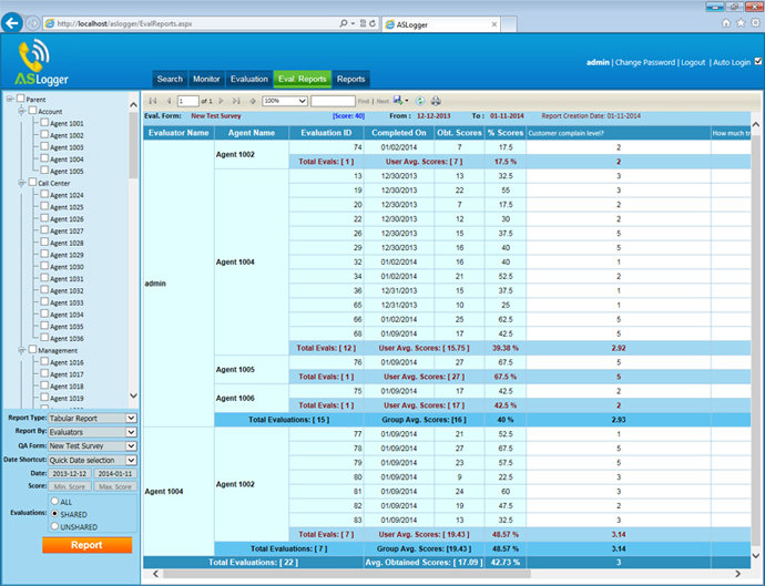 ASLogger Evaluations Report Screenshot
