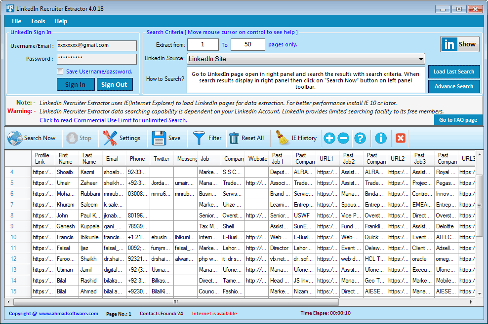 Linked Data Extractor Screenshot