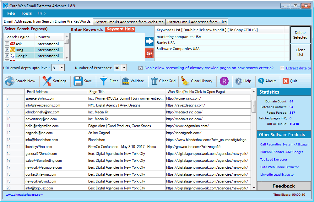 Cute Web Email Extractor Advance full screenshot