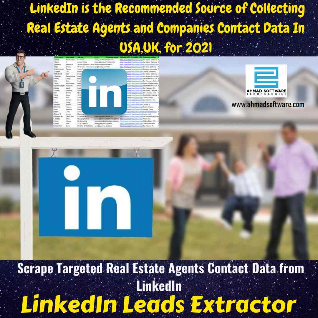 With LinkedIn Data Scraper Collect Leads data like estate agents