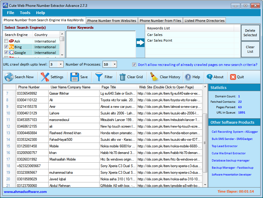 Cute Web Email Extractor Searchengine Screenshot