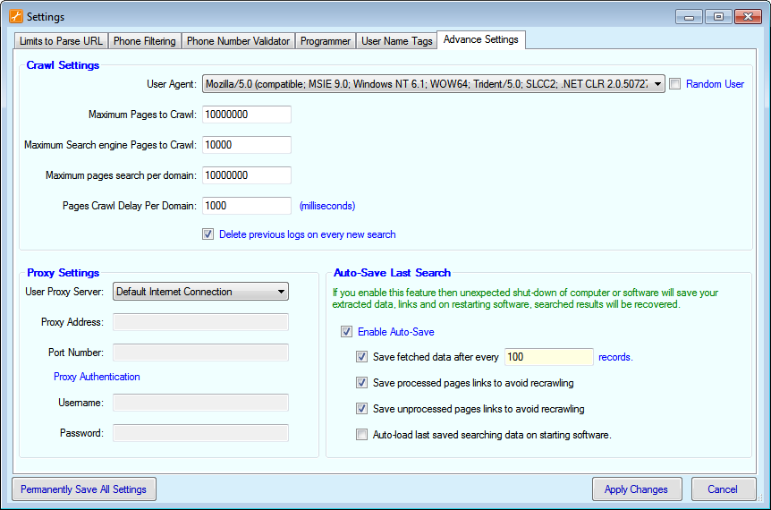 Web Phone Number Extractor Advance Settings Screenshot