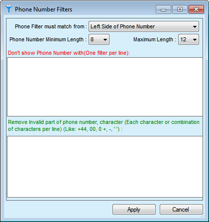 Web Phone Number Extractor Advance After Search Screenshot