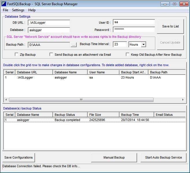 FastSQLBackup Database Backup Manager