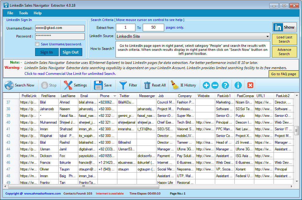 LinkedIn Sales Navigator Extractor Screenshot