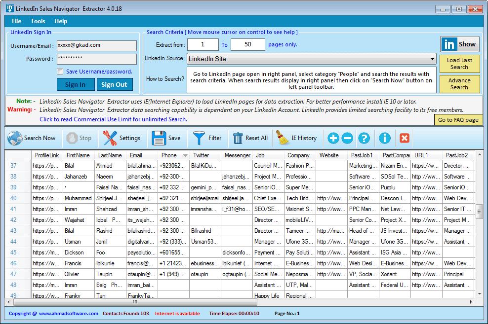 LinkedIn Sales Navigator Extractor Screenshot