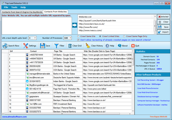 Web Email Hunter Websites Screenshot